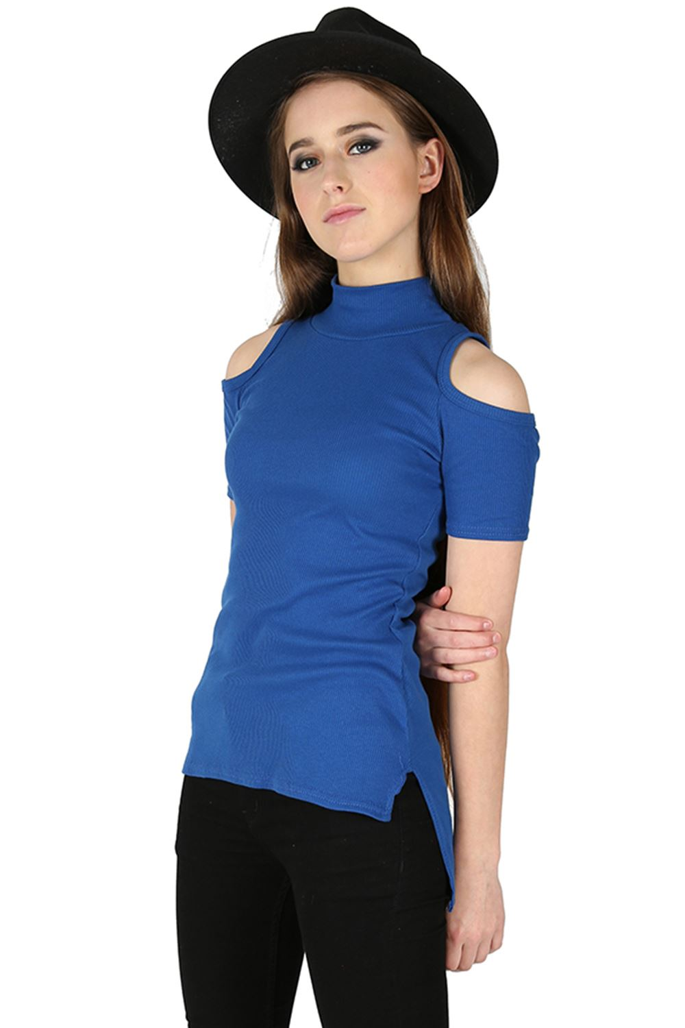 Womens ladies ribbed cold cut shoulder high low polo neck for Low neck t shirts women s