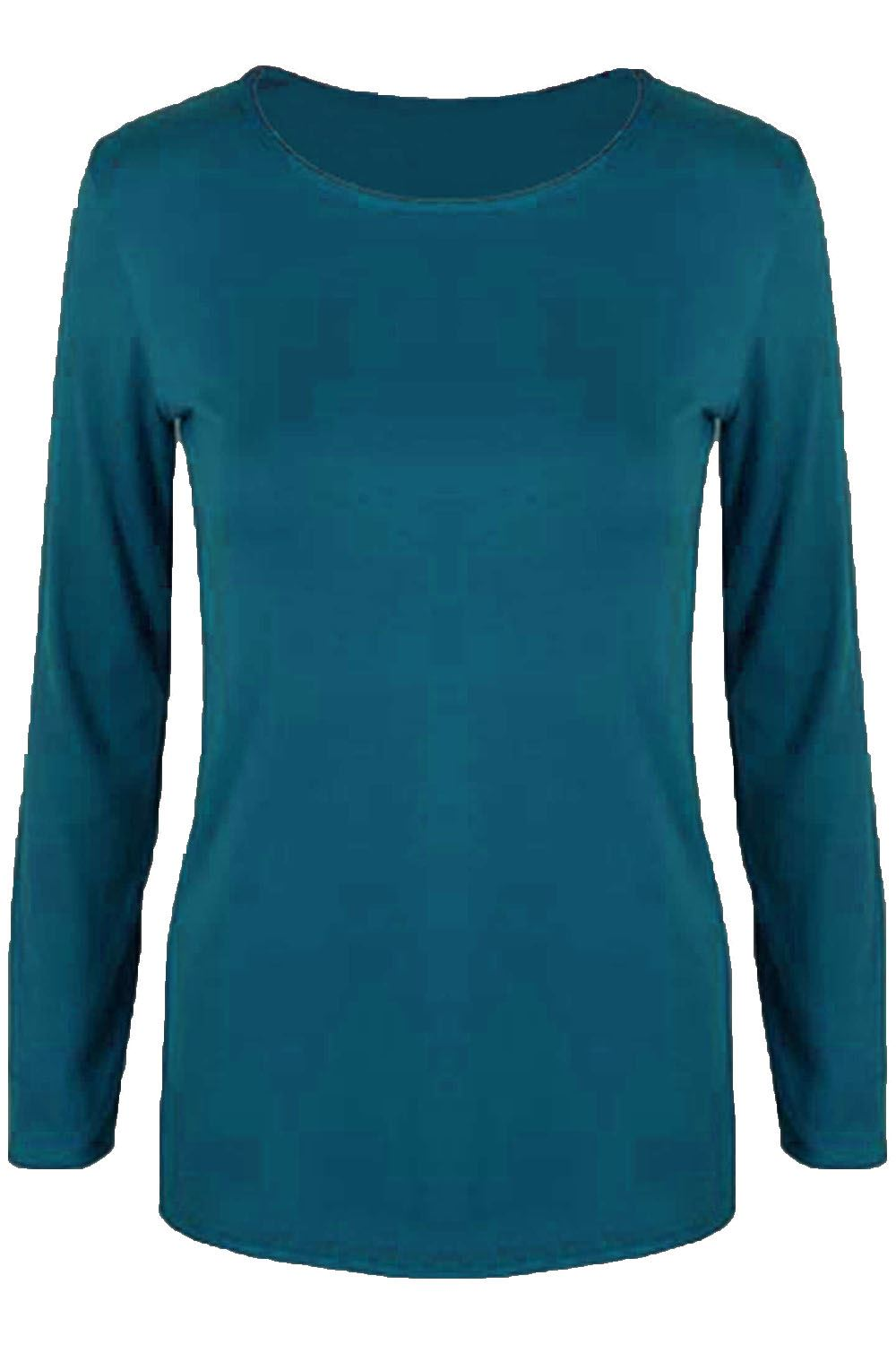 Womens t shirt ladies plain casual long sleeve fit round for Round neck t shirts for ladies