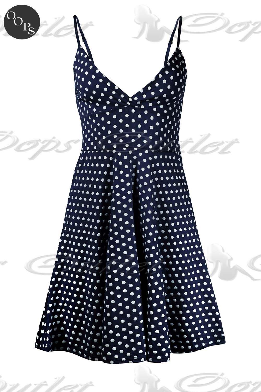 Womens Ladies Strappy V Neck Polka Dot 50's Rockabilly Swing Skater Dress Top