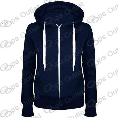 Womens Plain Hoody Zip Up Top Ladies Hoodies Sweatshirt Jacket Plus Size 6-22