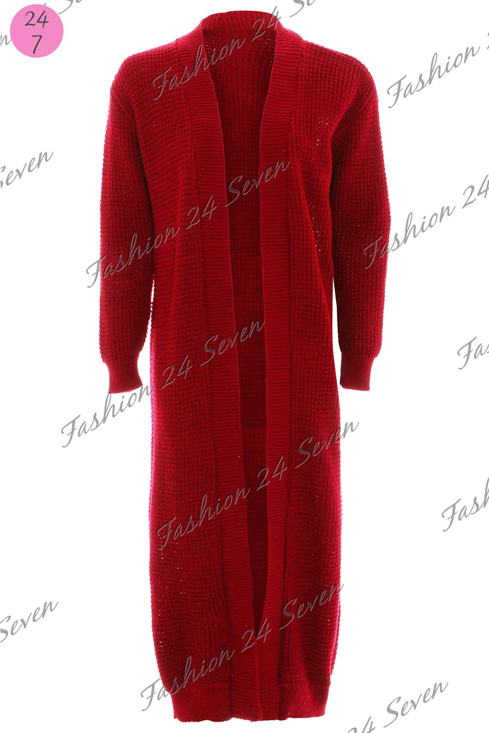 Womens Ladies Longline Chunky Knit Open Full Sleeve Mid Length Cardigan Jumper