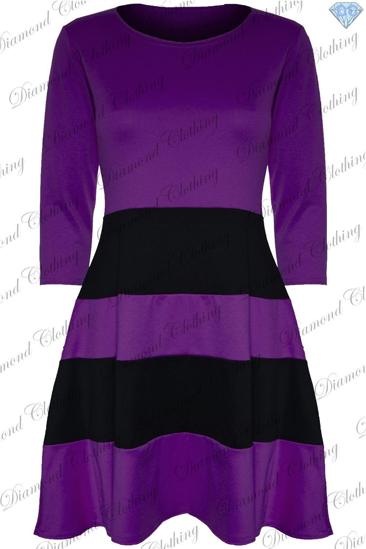 Womens-Ladies-3-4-Sleeve-Flared-Franki-Block-Stripe-Panel-Skater-Dress-Plus-Size