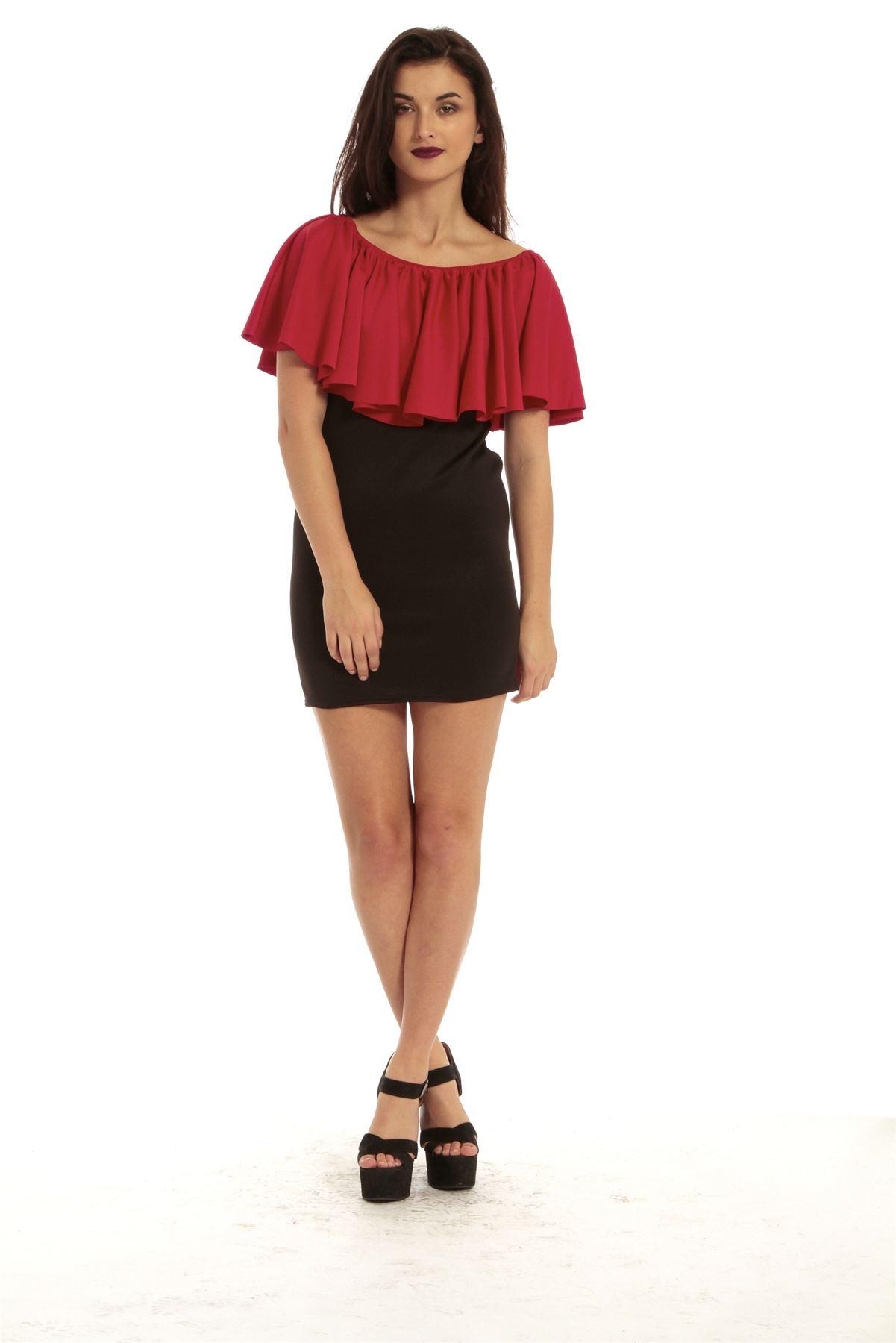 Womens Ruffle Frill Ladies Contrast Off Shoulder Bodycon Mini Dress Peplum Top