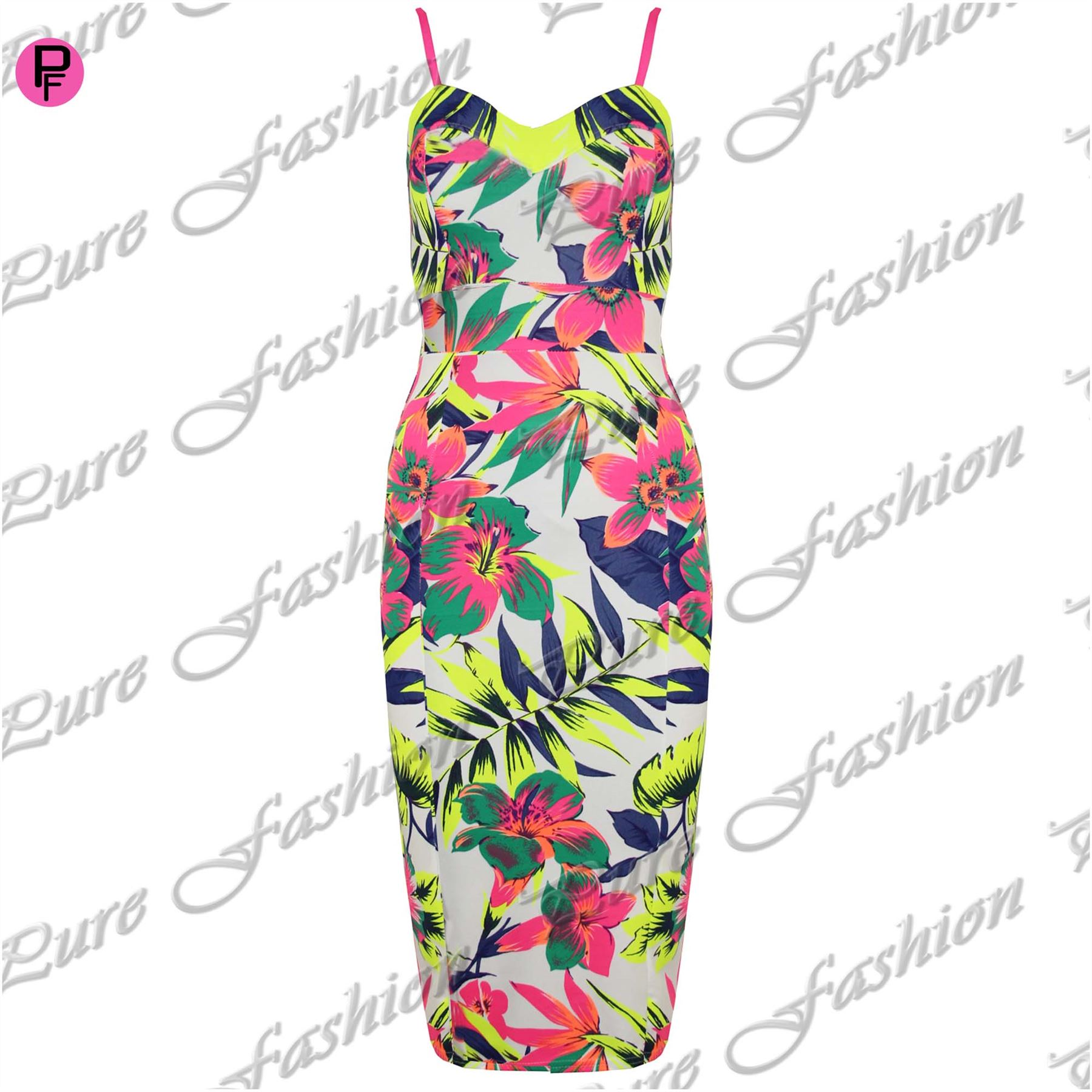 Womens Ladies Fitted Split Celebrity Floral Strappy Camisole Bodycon Midi Dress