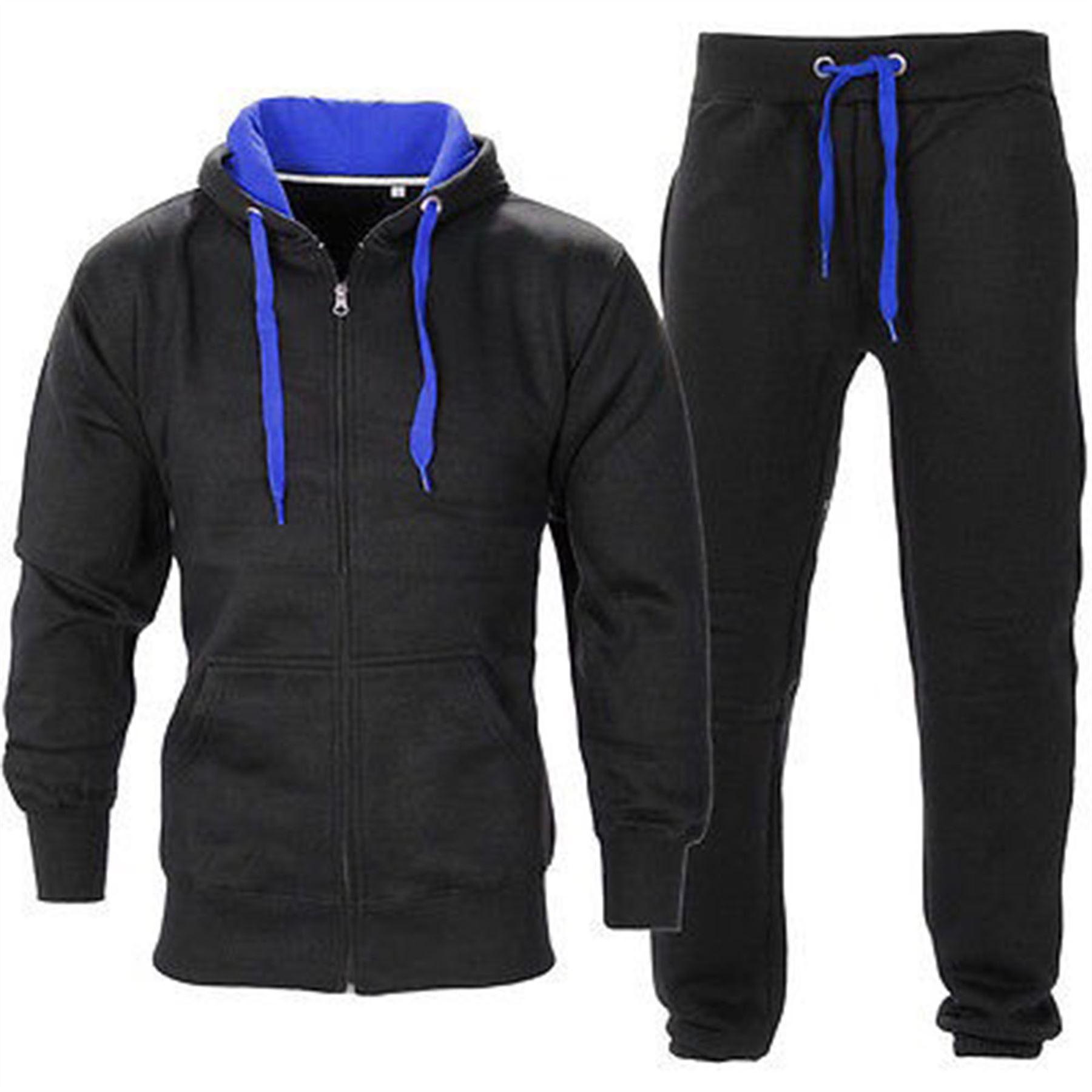 Mens Hooded Tracksuit Gym Contrast Jogging Full Top Fleece ...