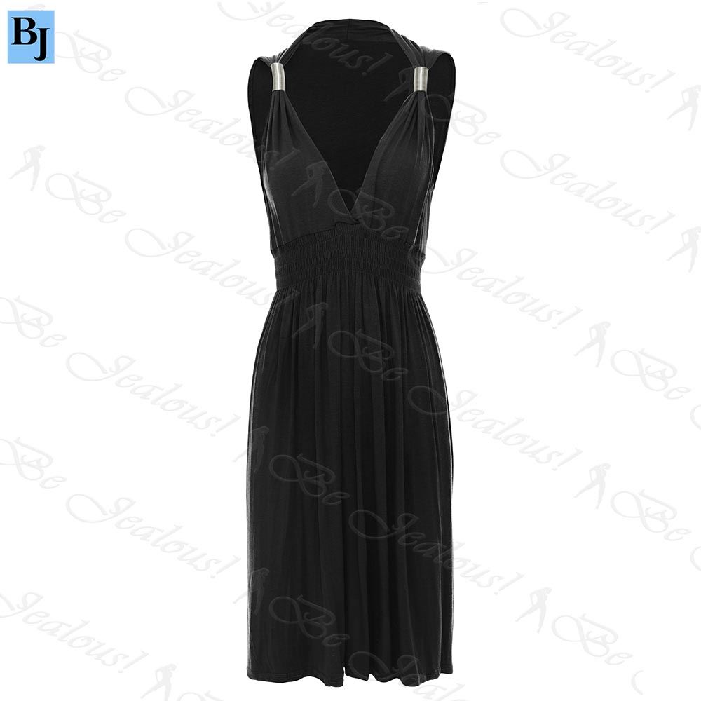 Womens Ladies Sleeveless Plain Jersey Spring Coil Greek Short Dress Plus Sizes