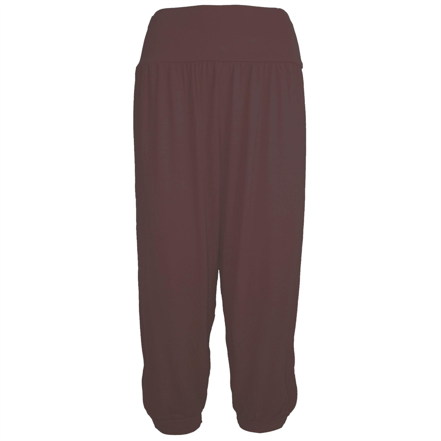 Womens Ladies Plain 3/4 Ali Baba Cuffed Harem Baggy Loose Leggings Trouser Pants