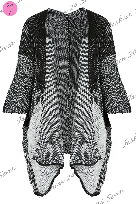 Ladies Blanket Wrap Womens Knitted Block Check Poncho Kimono Cape Cardigan Sh...