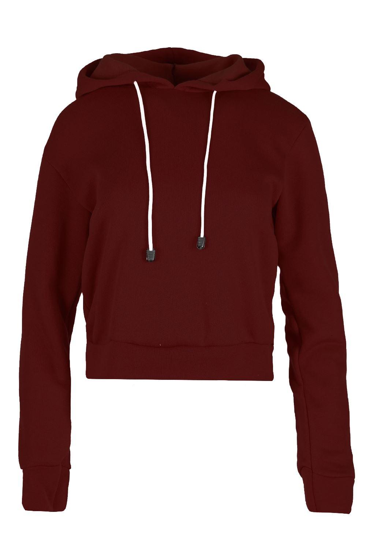 womens plain crop hoody long sleeve fleece sweatshirt ladies pullover hooded top ebay. Black Bedroom Furniture Sets. Home Design Ideas