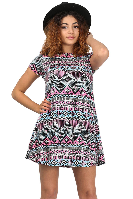 Womens ladies printed summer short sleeve flared tunic for Short flared wedding dress