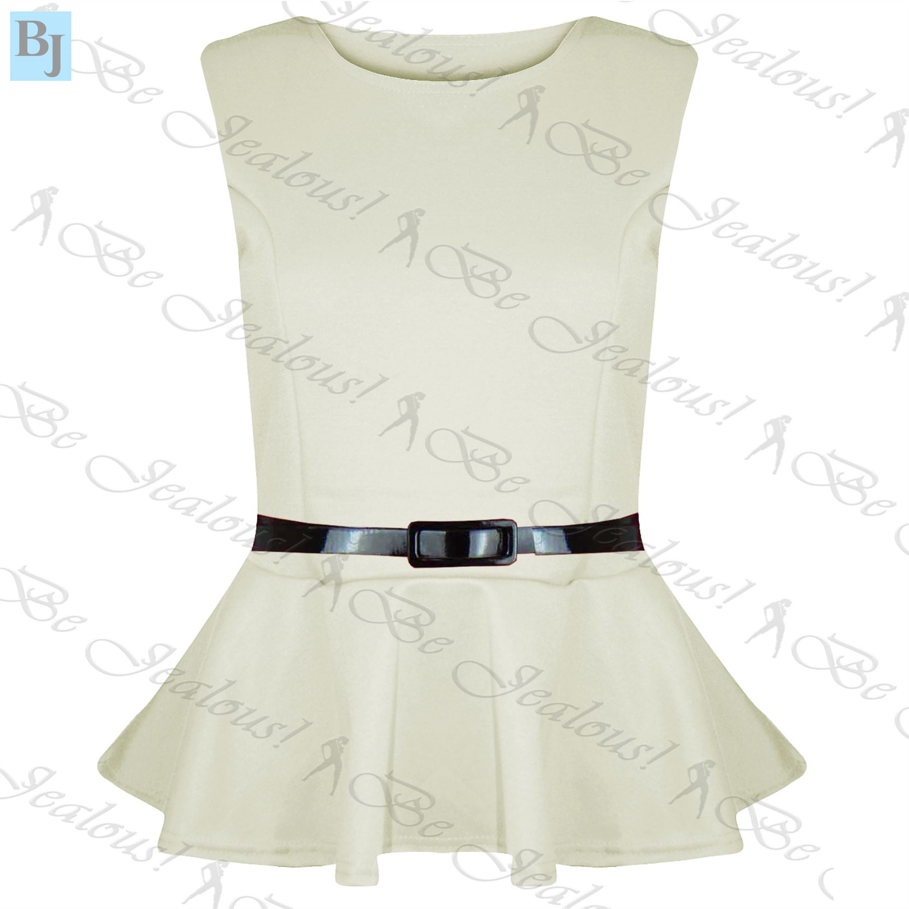 New Womens Plus Size Peplum Top Ladies Sleeveless Belted Frill Skater Mini Dress