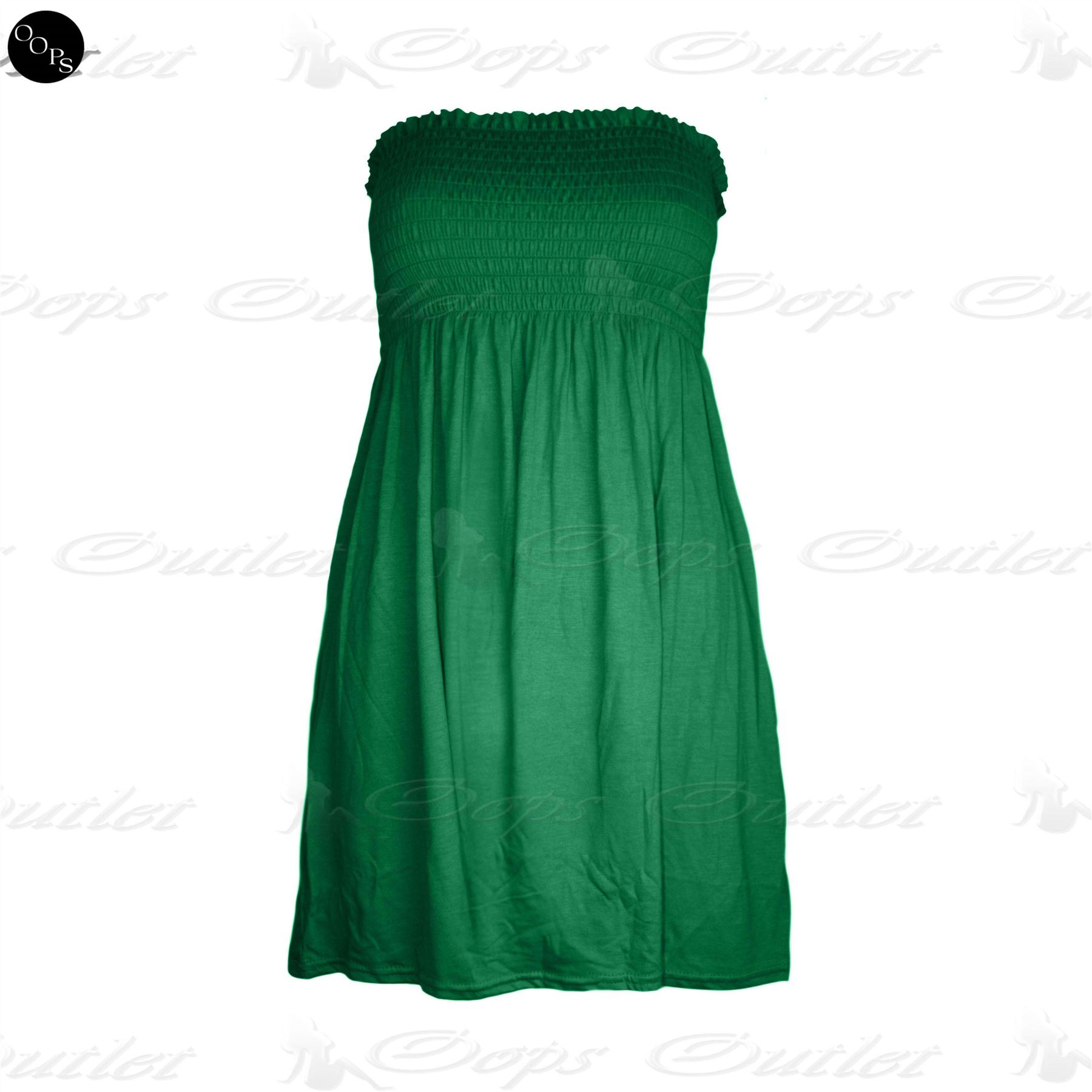 New-Womens-Ruched-Jersey-Plain-Ladies-Sheering-Flared-Swing-Bandeau-Boobtube-Top