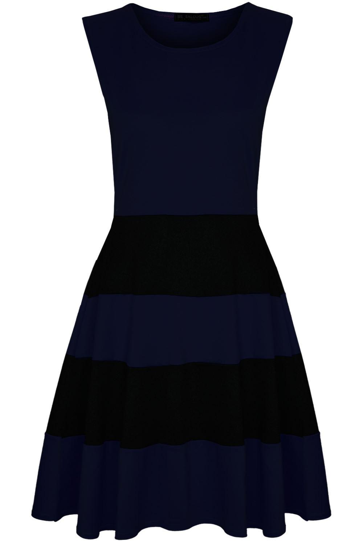 Womens Sleeveless Black Blocks Stripe Dress Ladies Panel Flared Skater Dress
