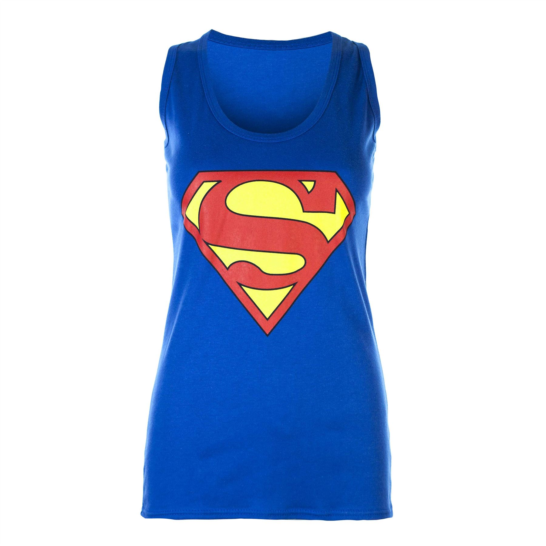 sleeveless muscle racer back top ladies superman batman t shirt vest. Black Bedroom Furniture Sets. Home Design Ideas