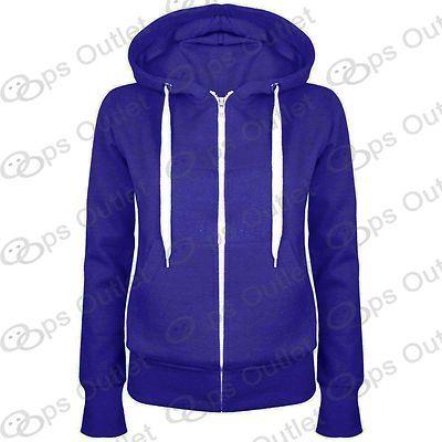 Womens-Plain-Hoody-Zip-Up-Top-Ladies-Hoodies-Sweatshirt-Jacket-Plus-Size-6-22