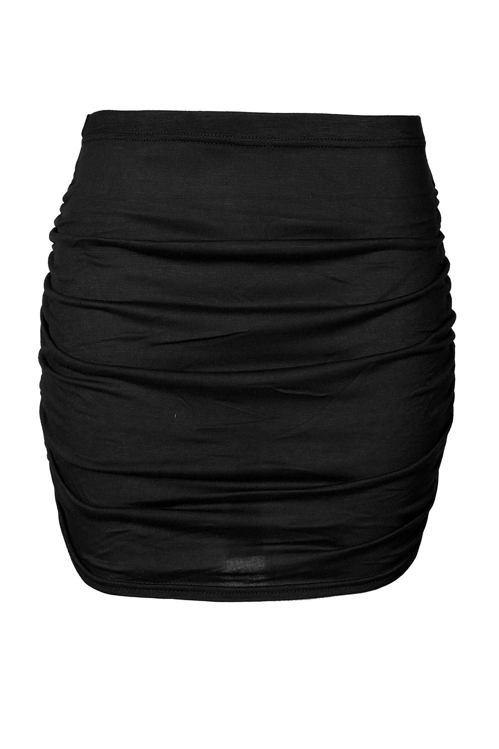 Womens Ladies Stretchy Side Ruched Pencil Bodycon Mini Skirt Plus Size UK 8-22