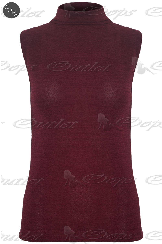 Womens Ladies Fine Knit Sleeveless Turtle Polo Roll Neck