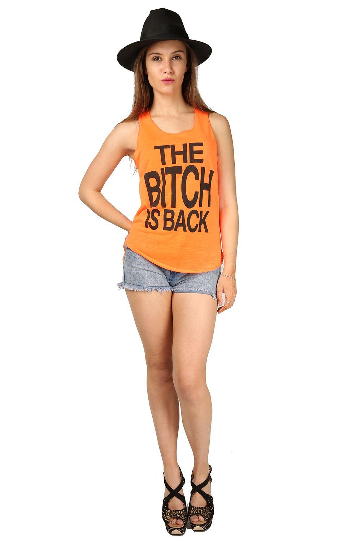 Womens Ladies Slogan Bitch is Back Gym Summer Tank Edge ...