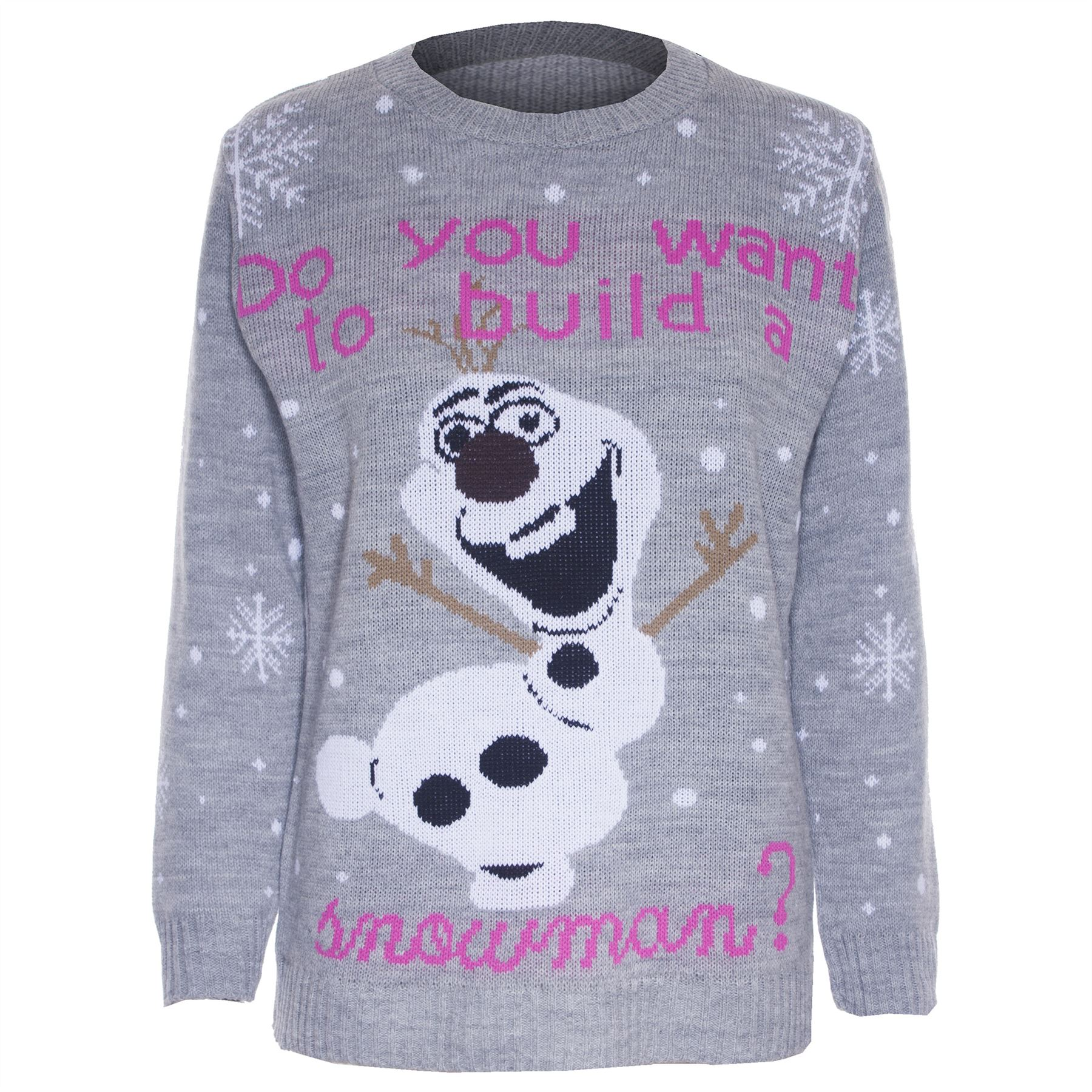 Womens Novelty Rudolf Olaf Ladies Frozen Knit Christmas Sweater Jumper Plus S...