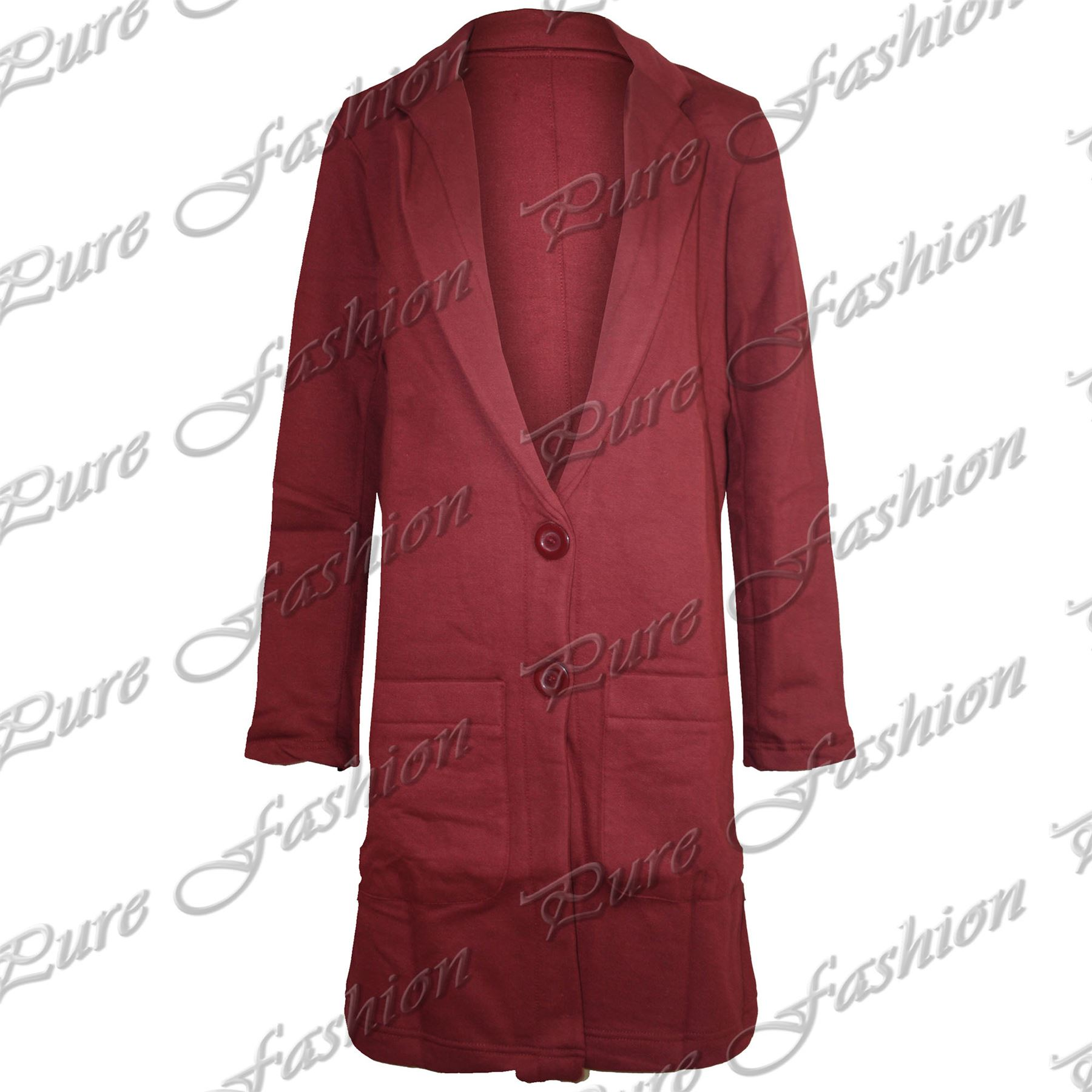 Womens-Ladies-Boyfriend-Tartan-Long-Sleeves-Front-Long-Coat-Button-Jacket-Blazer