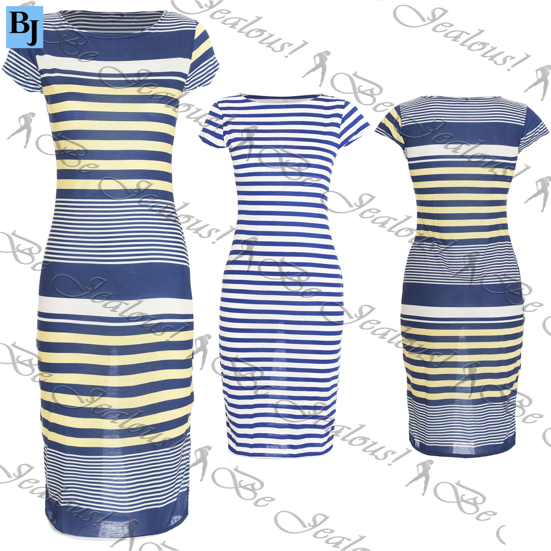New Womens Summer Ladies Cap Sleeves Stripes Celebrity Pencil Bodycon Midi Dress