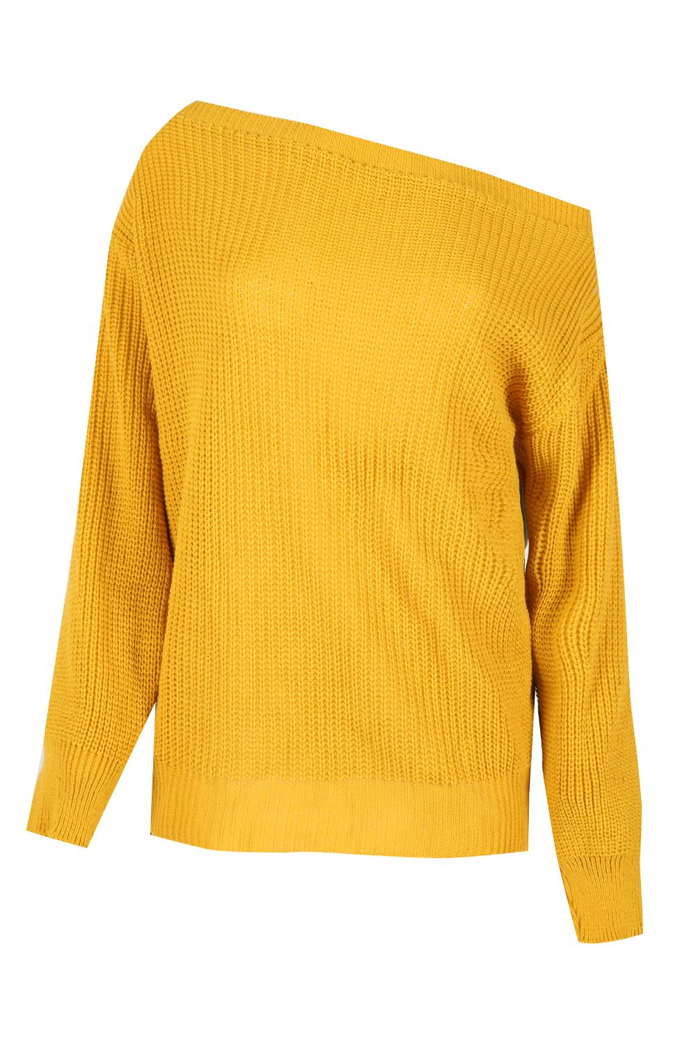 Ladies Off The Shoulder Chunky Knitted Oversized Jumper Womens ...