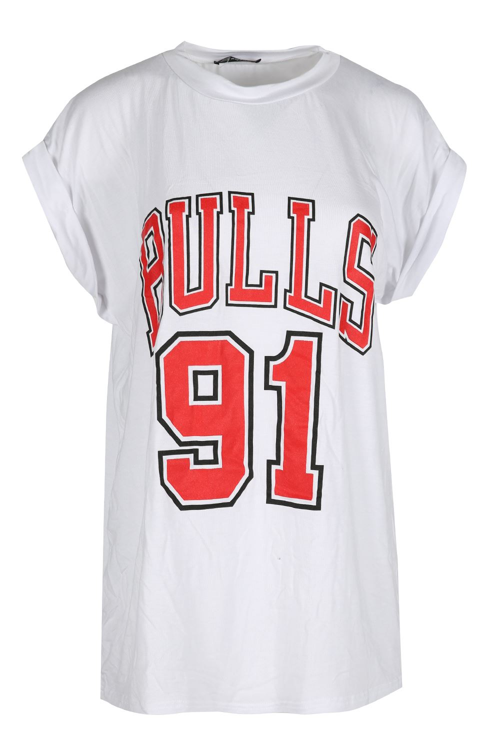 ... Bulls-91-Print-Turn-Up-Cap-Sleeve-Tshirt-Womens-Round-Neck-Top-T-Shirt
