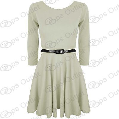 Womens-Belted-3-4-Short-Sleeves-Flared-Franki-Party-Ladies-Skater-Dress-Top-8-14