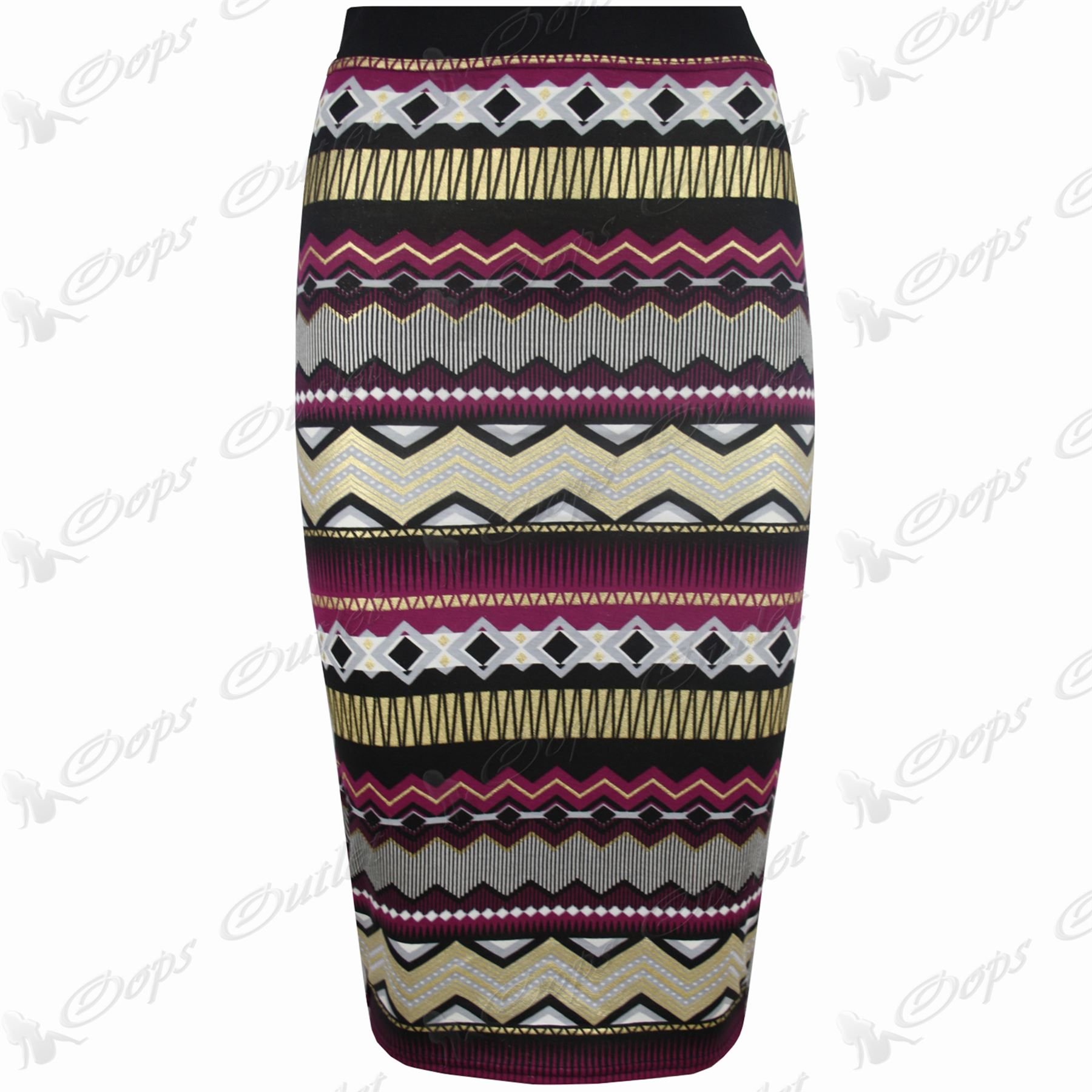 womens aztec stretchy bodycon mid calf length gold