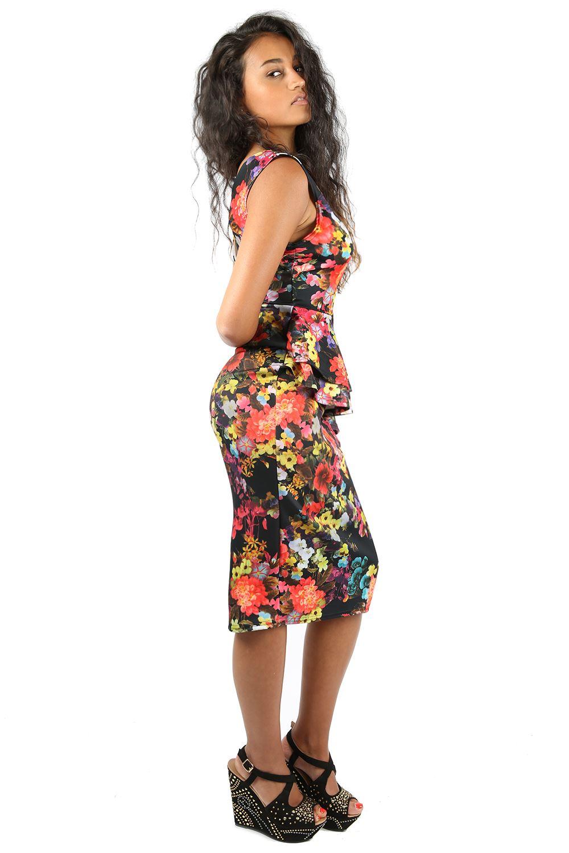 Ladies Floral Bodycon Side Slant Double Frill Sleeveless Party Midi Dress