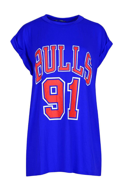 ... Bulls-91-Print-Turn-Up-Cap-Sleeve-Tshirt-Womens-Round-Neck-Top-T-Shirt