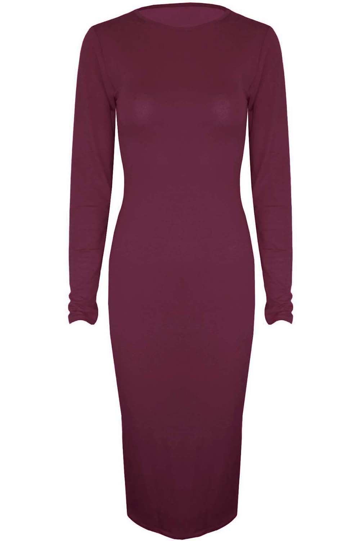 Womens Long Sleeve Stretch Jersey Ladies Round Neck Midi Bodycon Dress 8 10 1214