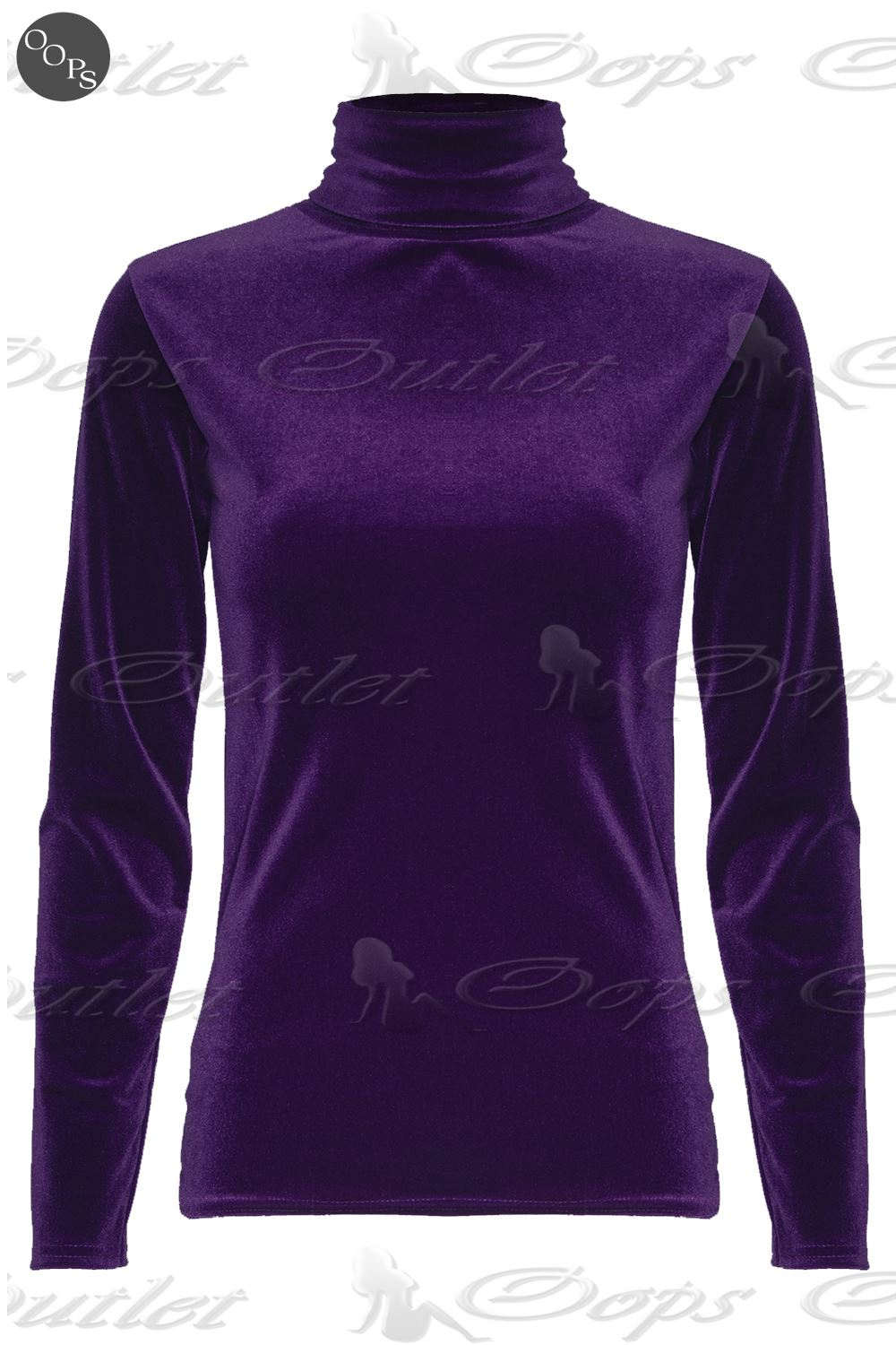 Womens Ladies Velvet Turtle Polo Neck Stretch Long Sleeve