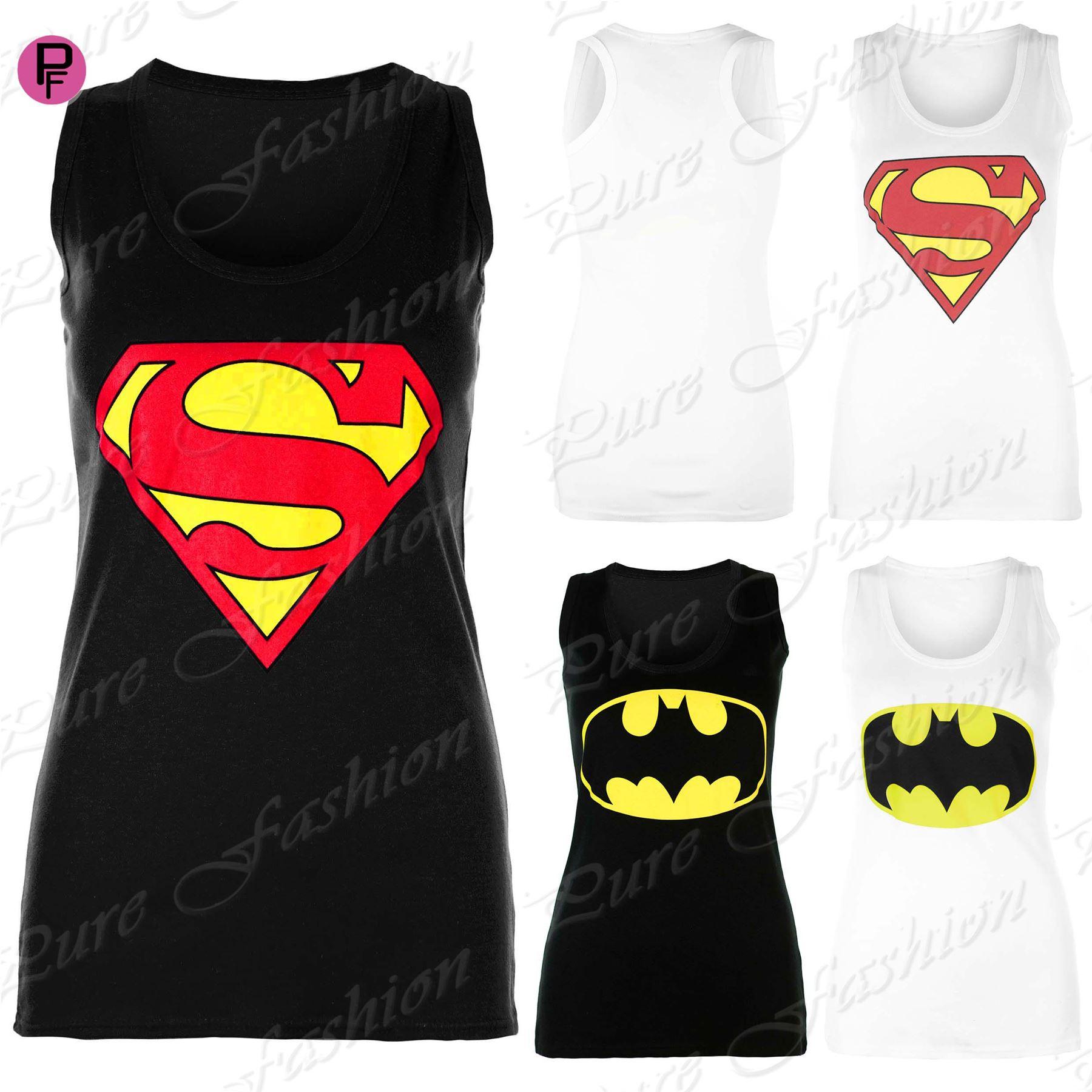 Womens Ladies Muscle Racer Back Sleeveless Superman Batman T Tee Shirt Vest Top