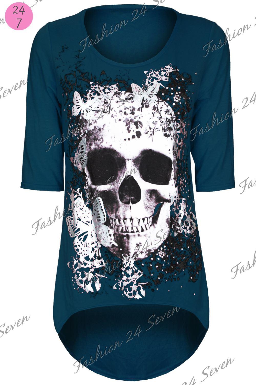 Womens Ladies Skull Butterfly Printed Dip Hem Hi Lo Tunic Dress Top Plus Size
