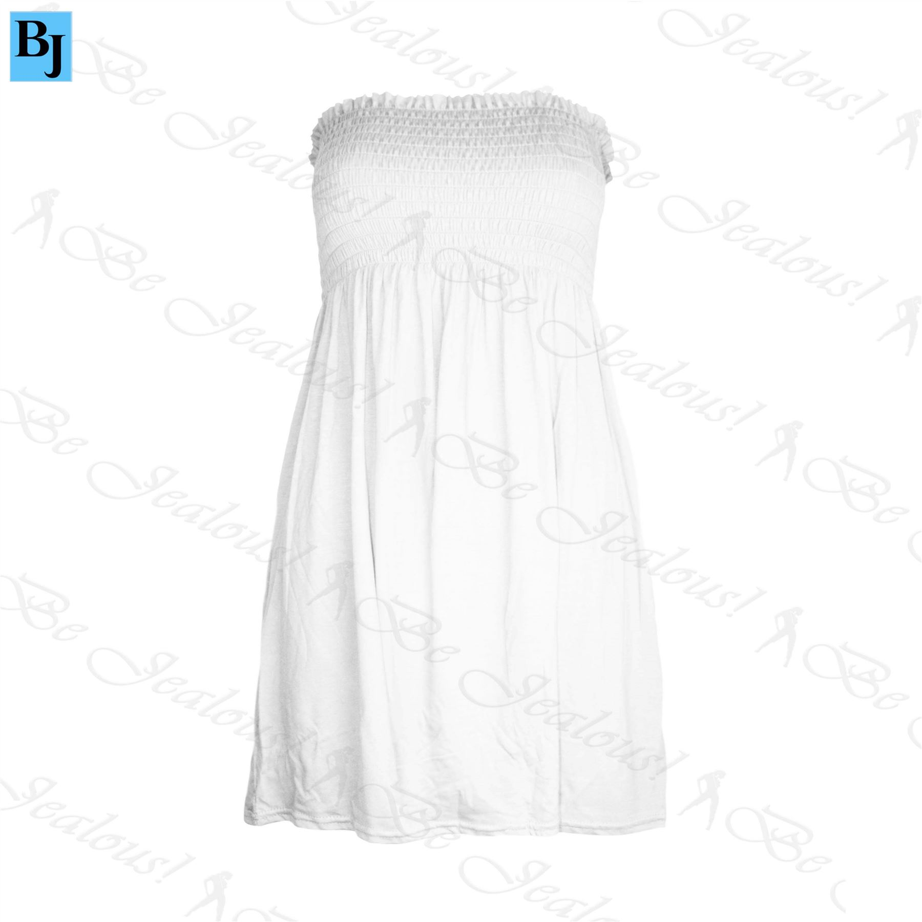 New-Womens-Ladies-Plain-Sheering-Ruched-Jersey-Flared-Swing-Bandeau-Boobtube-Top