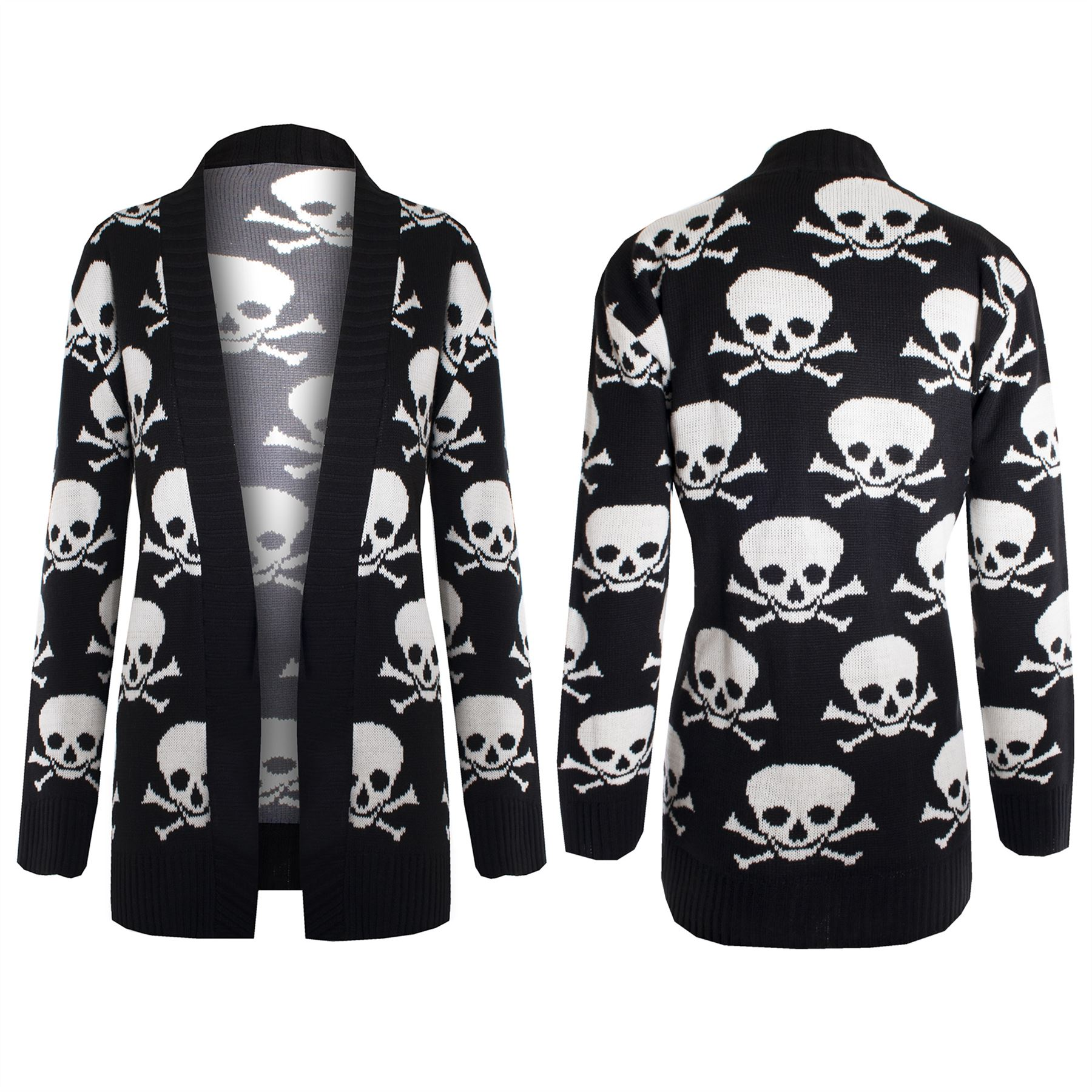 Womens Ladies Front Open Waterfall Knitted Skull Bones Sweater ...