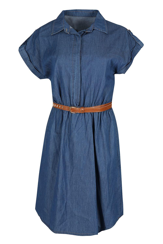 Womens shirt dress ladies denim collared button ruched for Women s collared button up shirts