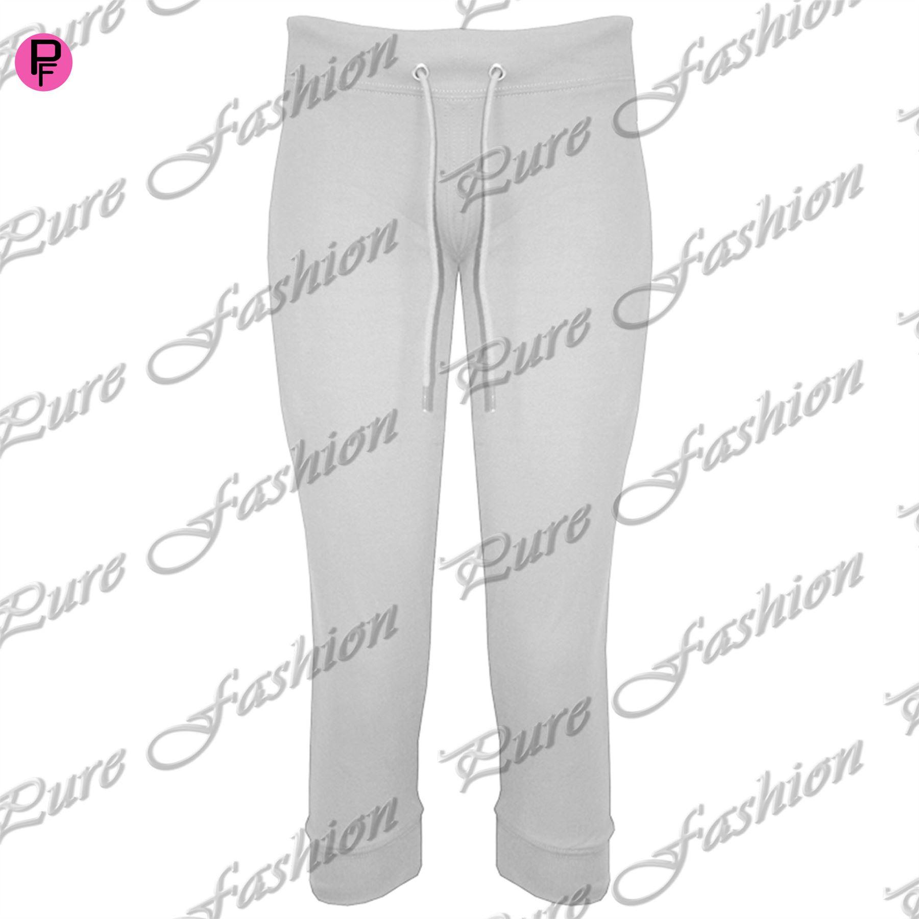 Womens Ladies Gym Jogging Joggers 3/4 Length Track Capri Jog Suit Bottoms Pants