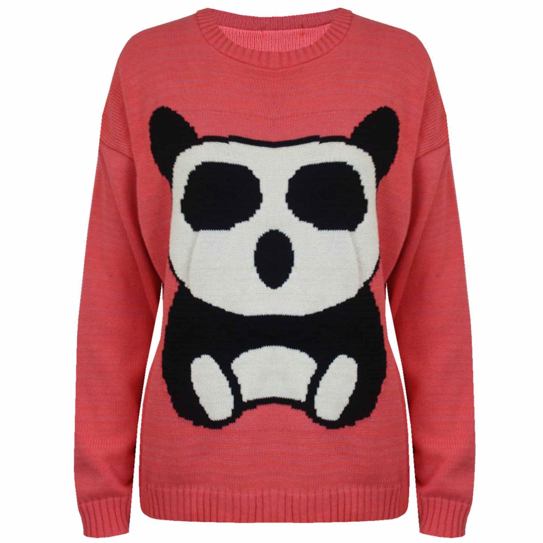 Knitting Pattern Panda Jumper : Ladies Panda Print Knitted Girls Long Sleeves Womens Pullover Sweater Jumper ...