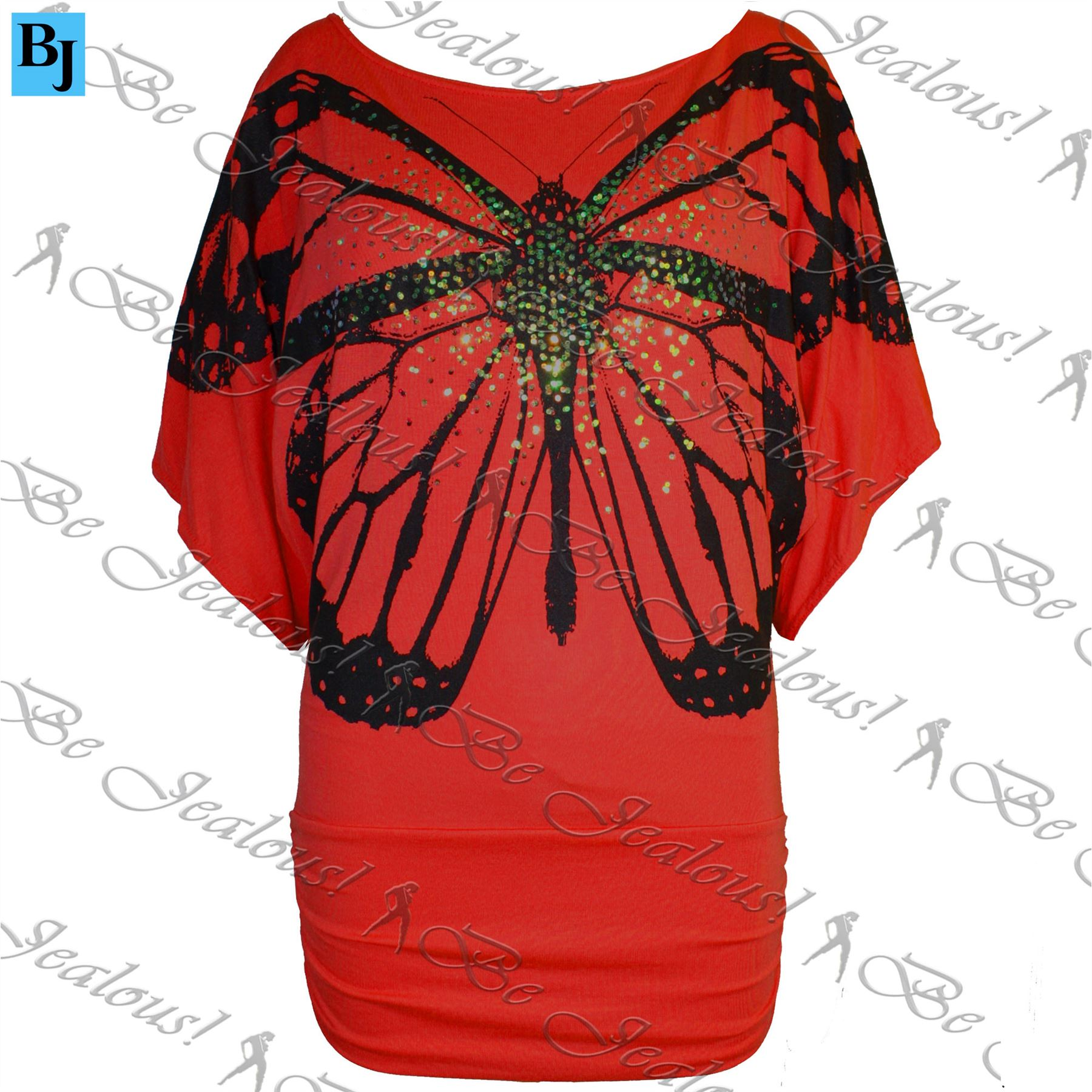 Womens-Ladies-Celeb-Print-Off-Shoulder-Sequin-Butterfly-Batwing-Side-Ruched-Top
