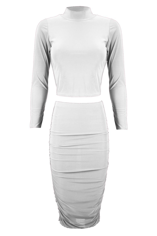Womens Ladies Celeb Kim Kardashian Polo Crop Top Ruched Midi Skirt Co Ord Set