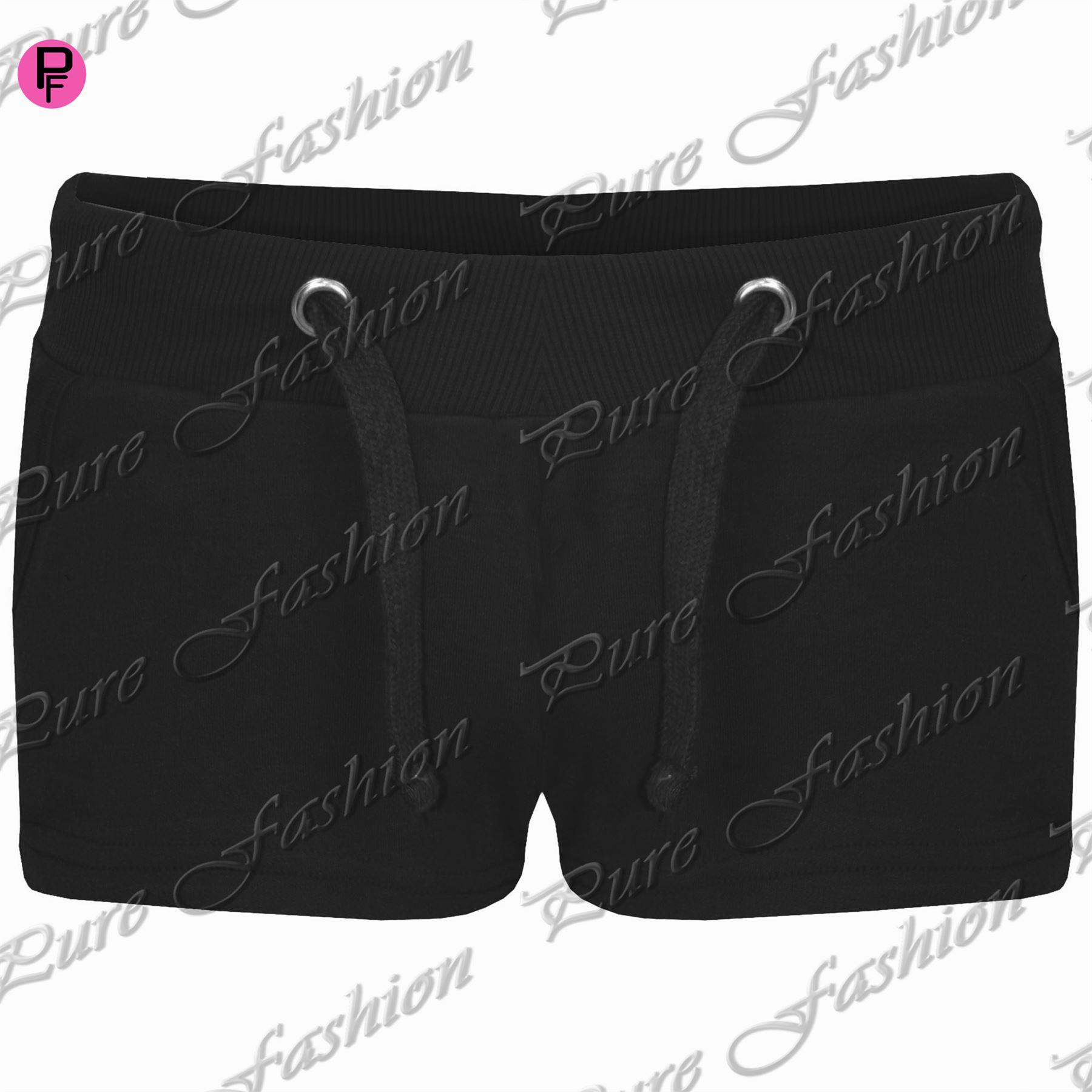 Womens-Ladies-Elasticated-Plain-Jersey-Side-Pockets-Hot-Pants-Jogging-Shorts