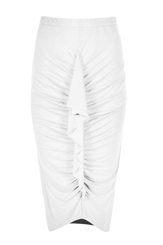 Womens Swirly Frill Bodycon Ladies Pencil Stretch Midi Skirt Plus ...