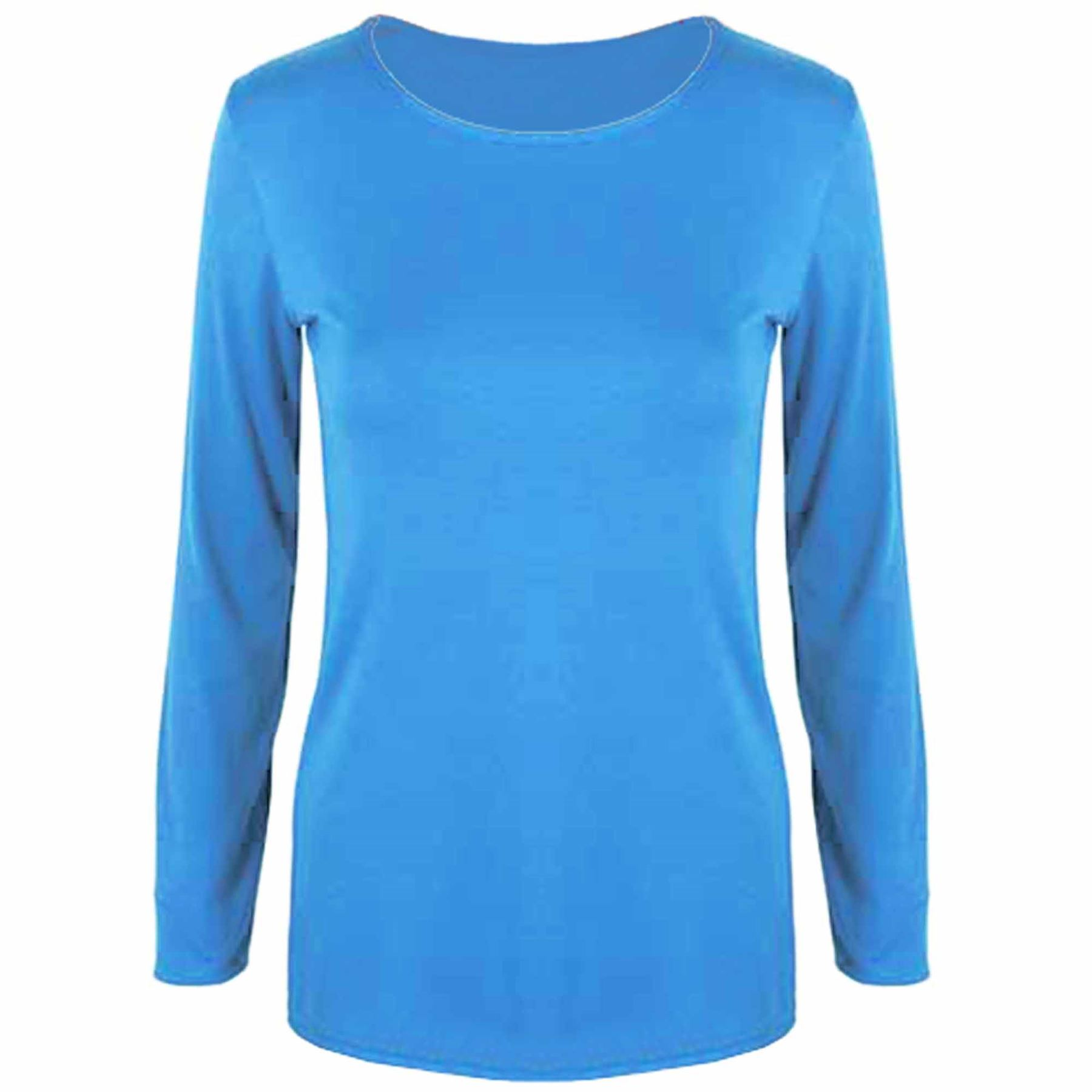Womens ladies stretchy long sleeves celebrity plain round for Misses long sleeve tee shirts