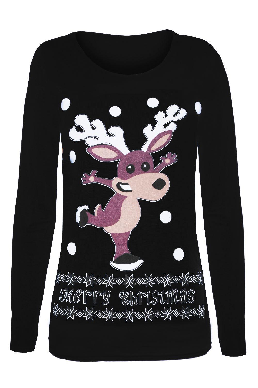 Womens ladies full sleeve christmas santa snowman for Best full sleeve t shirts