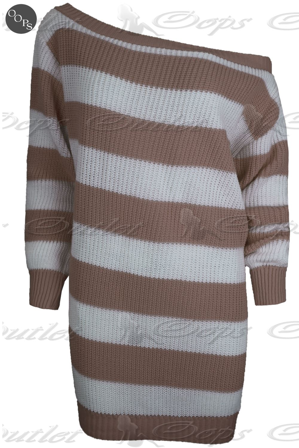 Womens Ladies Off The Shoulder Chunky Knit Oversize Baggy Jumper Tunic Dress Top