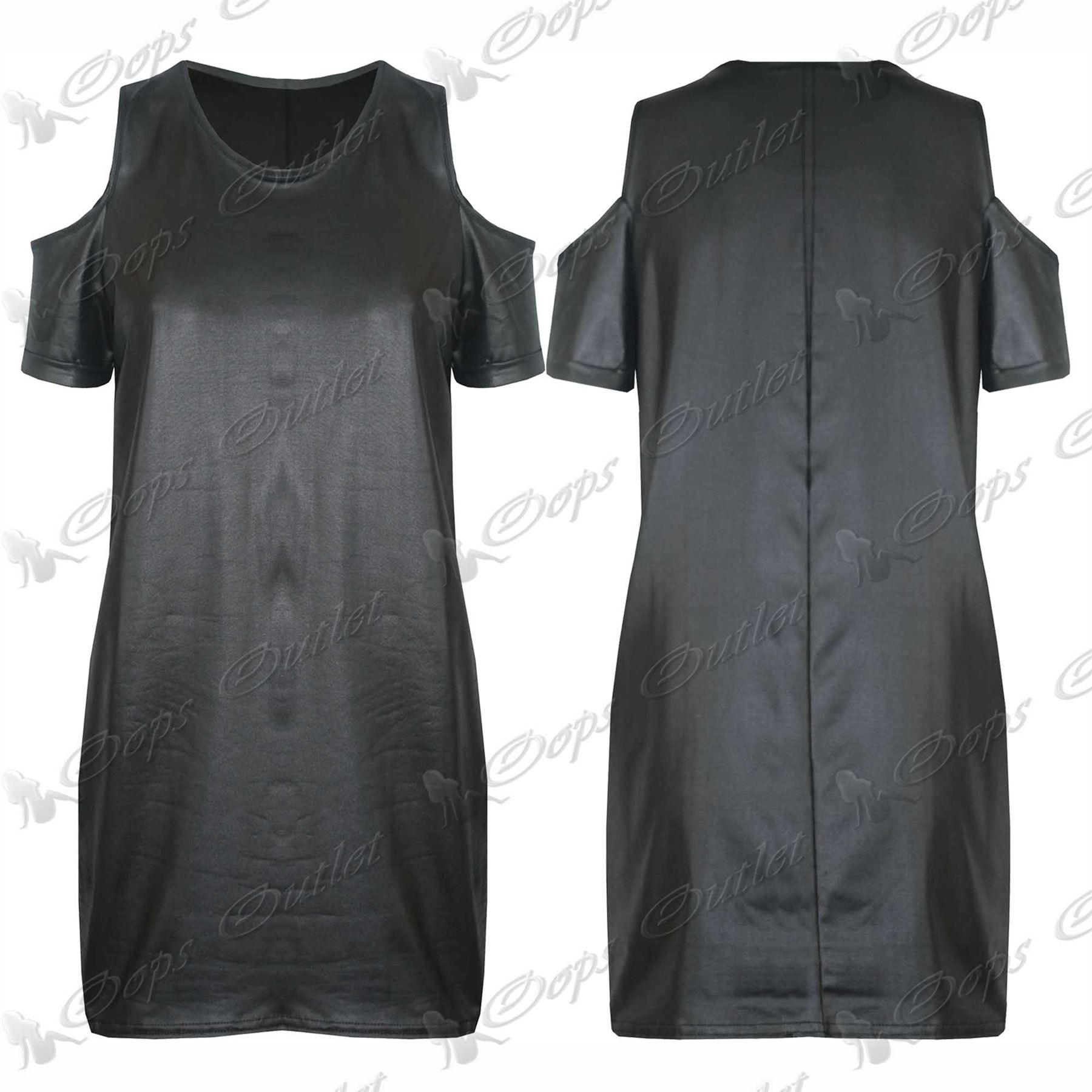 Womens-Wetlook-PVC-Leather-Ladies-Bodycon-Tunic-Dress-Peplum-Top-Leggings-Skirt
