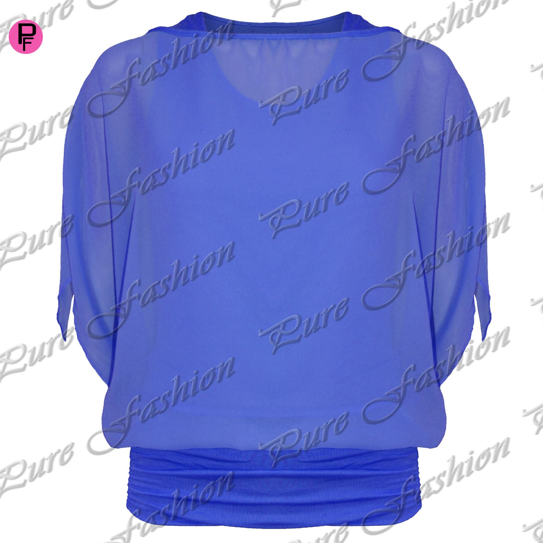 Womens-Plus-Size-Ladies-Plain-Oversize-Off-Shoulder-Chiffon-Batwing-Vest-Blouse