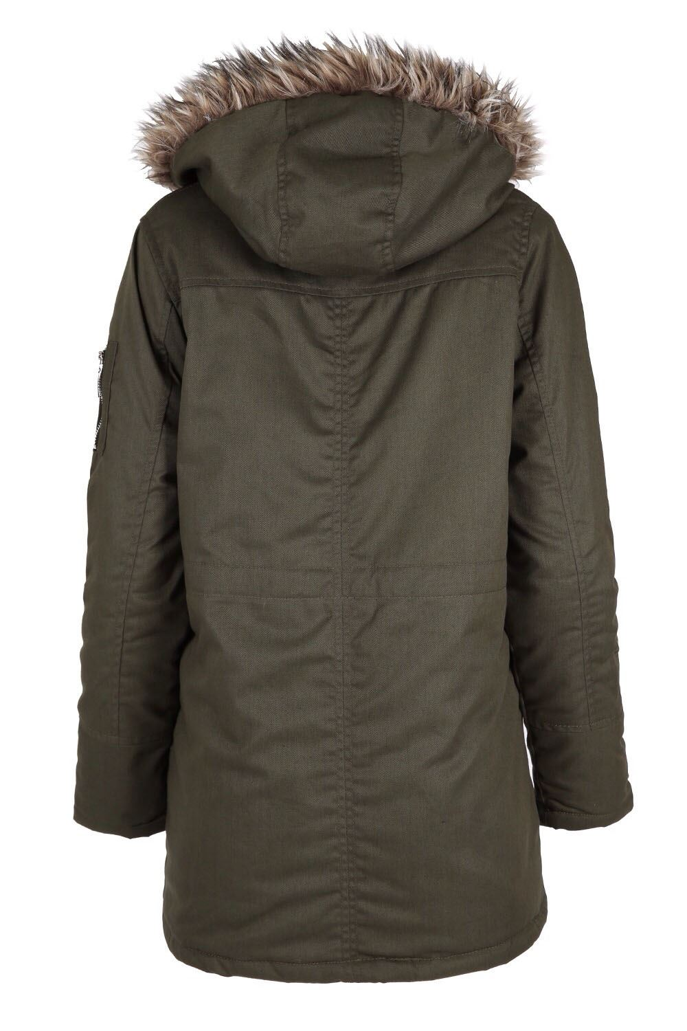 Womens Ladies Faux Fur Hooded Winter Military Coat Parka ...